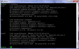 Output de ifconfig après la configuration du WI-FI