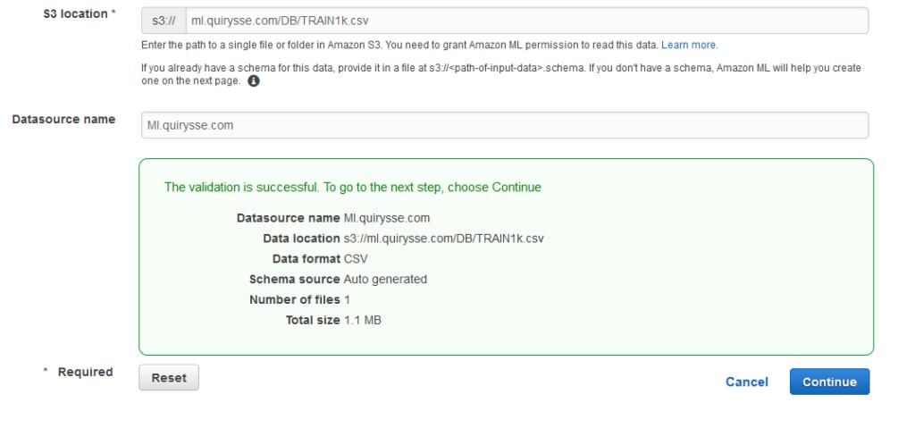Capture d'écran d'Amazon ML qui est content d'avoir validé notre fichier d'entrée.